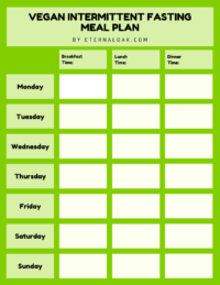 Fillable, Printable Vegan Intermittent Fasting Meal Plan Blank